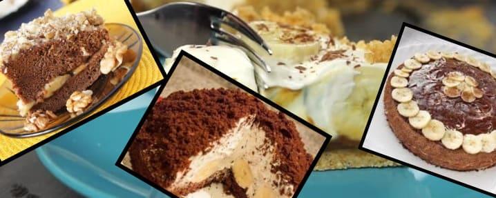 торт с бананом из печенья без выпечки